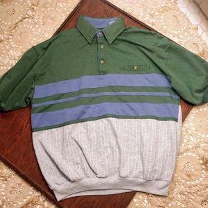 Vintage Baseball Pinstripe Polo Streetwear L